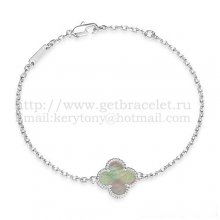 Van Cleef & Arpels Sweet Alhambra Bracelet White Gold With Gray Mother Of Pearl