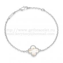 Van Cleef & Arpels Sweet Alhambra Bracelet White Gold With White Mother Of Pearl