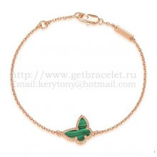 Van Cleef & Arpels Sweet Alhambra Butterfly Bracelet Pink Gold With Lapis Stone Mother Of Pearl