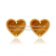Van Cleef & Arpels Sweet Alhambra Heart Earrings Yellow Gold With Tiger's Eye Mother Of Pearl