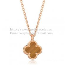 Van Cleef & Arpels Sweet Alhambra Pendant Pink Gold With Tiger's Eye Mother Of Pearl 9mm