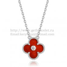 Van Cleef & Arpels Vintage Alhambra Pendant White Gold With Carnelian Mother Of Pearl Round Diamonds