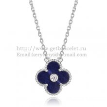 Van Cleef & Arpels Vintage Alhambra Pendant White Gold With Lapis Stone Mother Of Pearl Round Diamonds