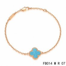 Cheap Van Cleef & Arpels Sweet Alhambra Bracelet In Pink Gold With Turquoise