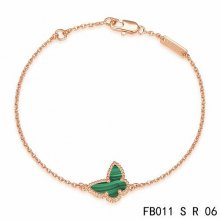 Cheap Van Cleef & Arpels Sweet Alhambra Butterfly Bracelet In Pink Gold With Malachite