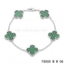 Fake Van Cleef & Arpels Bracelet Blanc Avec 5 Motifs De Couleur Verte