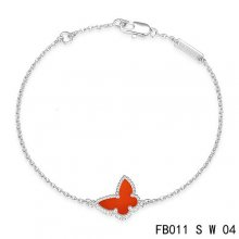 Imitation Van Cleef & Arpels Sweet Alhambra Bracelet In White With Red Butterfly