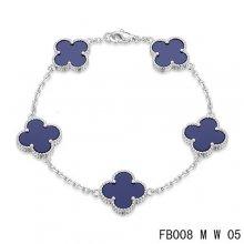 Fake Van Cleef & Arpels Alhambra Bracelet In White With 5 Purple Clover