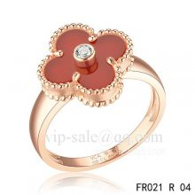 Cheap Van Cleef Vintage Alhambra Ring In Pink Gold With Carnelian