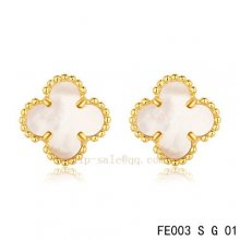Cheap Van Cleef & Arpels Clover White Mother Of Pearl Yellow Gold Earrings