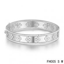 Imitation Van Cleef & Arpels Perlee Clover Bracelet In White Gold With Diamond-Small Model