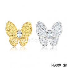 Cheap Van Cleef & Arpels Butterflies White And Yellow Gold Earrings,Diamonds