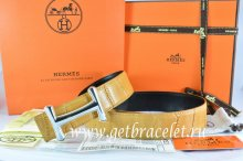 Hermes Reversible Belt Orange/Black Crocodile Stripe Leather With18K Silver Idem Buckle