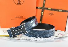 Hermes Reversible Belt Blue/Black Crocodile Stripe Leather With18K Black Silver Width H Buckle