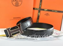 Hermes Reversible Belt Black/Black Crocodile Stripe Leather With18K Black Gold Width H Buckle