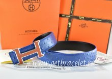 Hermes Reversible Belt Blue/Black Ostrich Stripe Leather With 18K Brown Silver Narrow H Buckle