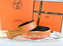 Hermes Reversible Belt Orange/Black Ostrich Stripe Leather With 18K Orange Gold Width H Buckle