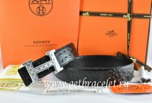 Hermes Reversible Belt Black/Black Ostrich Stripe Leather With 18K Silver Spot Stripe H Buckle