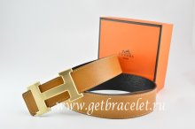 Hermes Reversible Belt Light Coffe/Black Togo Calfskin With 18k Drawbench Gold H Buckle