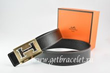 Hermes Reversible Belt Black/Black Togo Calfskin With 18k Orange Gold Big H Buckle