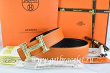 Hermes Reversible Belt Orange/Black Togo Calfskin With 18k Gold Geometric Stripe H Buckle
