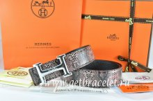 Hermes Reversible Belt Brown/Black Snake Stripe Leather With 18K Silver Idem With Logo Buckle