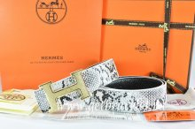 Hermes Reversible Belt White/Black Snake Stripe Leather With 18K Gold Plates Strip H Buckle