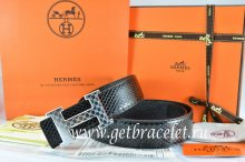 Hermes Reversible Belt Black/Black Snake Stripe Leather With 18K Silver Plates Strip H Buckle