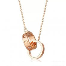 Cartier Love Necklace In 18K Pink Gold With Two Rings With 3 Diamonds