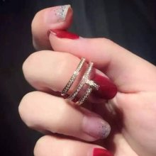 Cartier Juste Un Clou Pink Gold Full Diamond Double Nail Ring