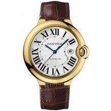 Ballon Bleu de Cartier W6900551 large watch replica 18K yellow gold brown leather strap
