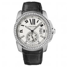 Calibre de Cartier automatic diamond watch WF100003 steel black leather strap