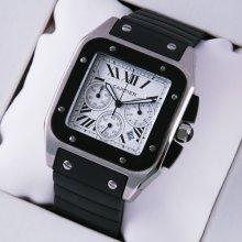 Cartier Santos 100 Chronograph mens watch replica stainless steel black rubber strap
