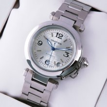 Cartier Pasha C imitation midsize watch stainless steel silver dial