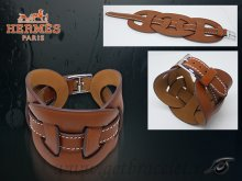 Hermes Fetiche Leather Bracelet Brown