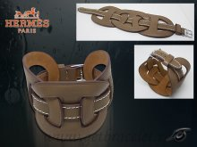 Hermes Fetiche Leather Bracelet Coffee