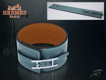 Hermes Fleuron Large Leather Bracelet Blue With Silver
