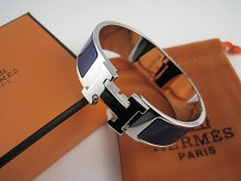 Hermes Dark Blue Enamel Clic H Bracelet Narrow Width (18mm) In Silver