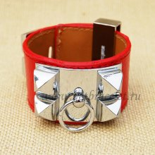 Hermes Collier de Chien Bracelet Red Silver Red Silver
