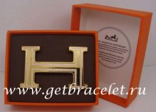 Hermes Reversible Belt 18k Gold Plated H Buckle with Double Full Diamonds