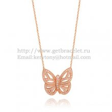 Van Cleef Arpels Butterfly Hollowing Carving Pendant Pink Gold With Pave Diamond