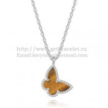 Van Cleef Arpels Lucky Alhambra Butterfly Necklace White Gold With Tiger's Eye Mother Of Pearl