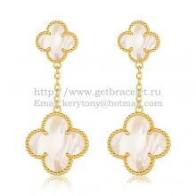 Van Cleef & Arpels Magic Alhambra Earrings Yellow Gold With White Mother Of Pearl