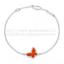 Van Cleef & Arpels Sweet Alhambra Butterfly Bracelet White Gold With Carnelian Mother Of Pearl