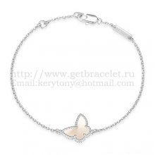 Van Cleef & Arpels Sweet Alhambra Butterfly Bracelet White Gold With White Mother Of Pearl