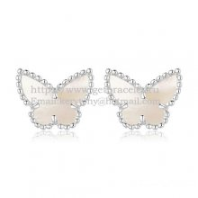 Van Cleef & Arpels Sweet Alhambra Butterfly Earrings White Gold With White Mother Of Pearl