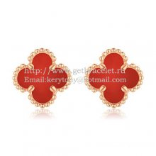 Van Cleef & Arpels Sweet Alhambra Earrings 9mm Pink Gold With Carnelian Mother Of Pearl