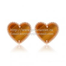 Van Cleef & Arpels Sweet Alhambra Heart Earrings Pink Gold With Tiger's Eye Mother Of Pearl