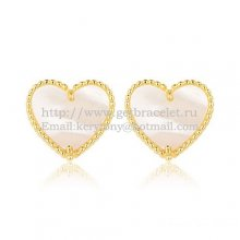 Van Cleef & Arpels Sweet Alhambra Heart Earrings Yellow Gold With White Mother Of Pearl