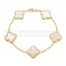 Van Cleef & Arpels Vintage Alhambra Bracelet 5 Motifs Yellow Gold With White Mother Of Pearl